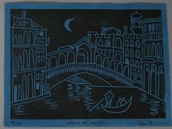 "Tish Brewer. ""Venice at night."" 2019 Linocut print on blue kozo"
